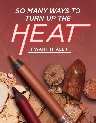 SO MANY WAYS TO TURN UP THE HEAT. Naked Heat. 3 LIMITED-EDITION Vice Lipstick Shades. 2 NEW 24/7 Glide-On Eye Pencil Shades. I WANT IT ALL >