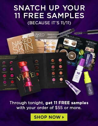 Receive a free 11-piece bonus gift with your $55 Urban Decay purchase