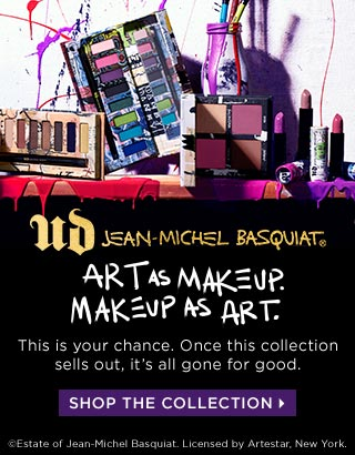 ART AS MAKEUP. MAKEUP AS ART. UD JEAN-MICHEL BASQUIAT. This is your chance. Once this collection sells out, it's all gone for good. SHOP THE COLLECTION >