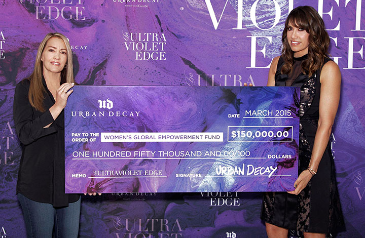 Urban Decay's first Ultraviolet Edge donation check