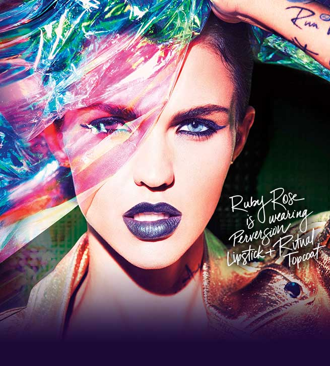 Ruby Rose is wearing Perversion Lipstick and Ritual Topcoat