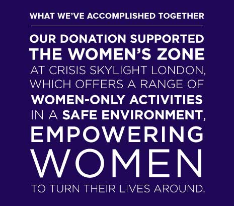 Our donation supported the Women's Zone at Crisis Skylight London