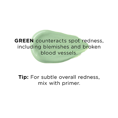 Green counteracts spot redness, inclusing blemishes and broken blood vessels.