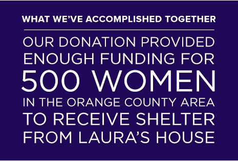 Our donation will provide funding for 500 Women to receive shelter from Laura's House.