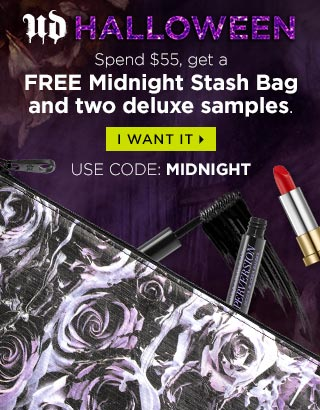 JUST BECAUSE…Spend $55, get a FREE Midnight Stash Bag and two deluxe samples. I WANT IT. USE CODE: MIDNIGHT >